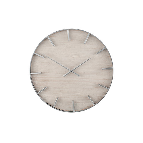 Silver Metal and White Wash Wood Round Wall Clock
