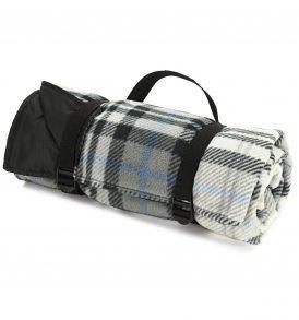 Grey & Black Outdoor Check Fleece Rug Roll