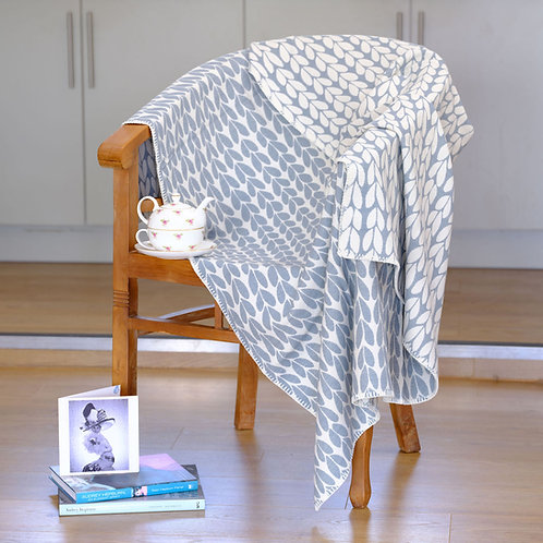 Sycamore Duck Egg Blue Organic Cotton  Blanket with Blanket Stitch