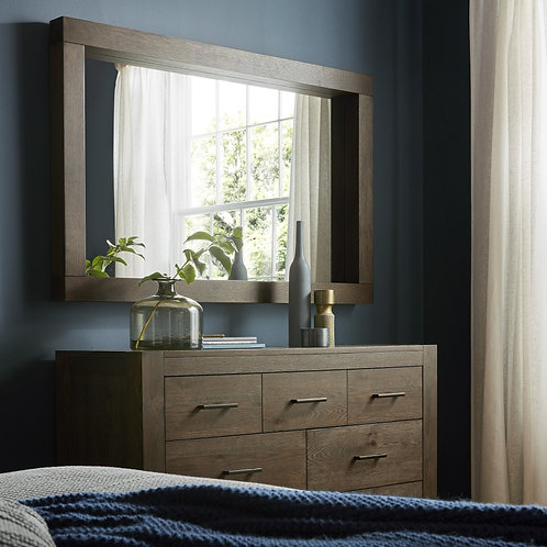 Turin Dark Oak Landscape Mirror