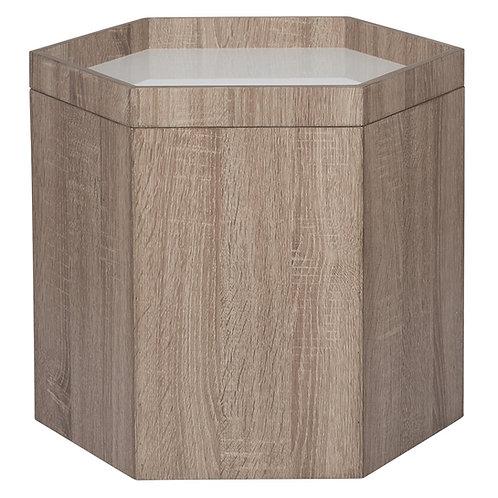 Natural & White Wood Hexagonal Storage Box Small sand cornwall