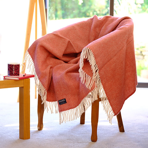 Cranberry Fishbone Pure New Wool Sand Blanket