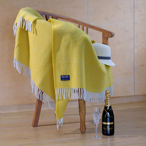 Diagonal Stripe Yellow Pure New Wool Sand Blanket