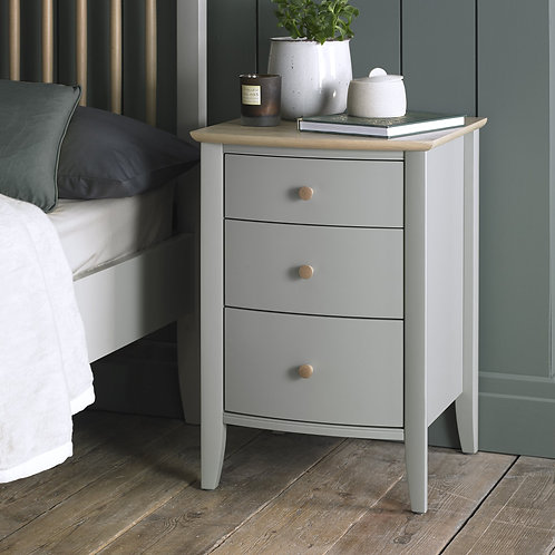 Whitby Scandi Oak and Grey 3 Drawer Nightstand
