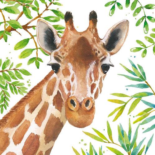 Tropical giraffe lunch napkins 33x33 cm