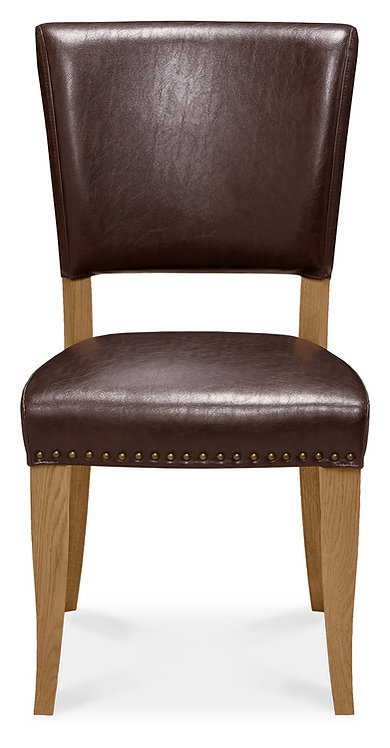 Belgrave Rustic Oak Upholstered Chair - Rustic Espresso Faux Leather (Pair)