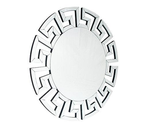 Silver Mirrored Glass Round Wall Mirror