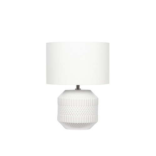 White Embossed Geo Ceramic Table Lamp