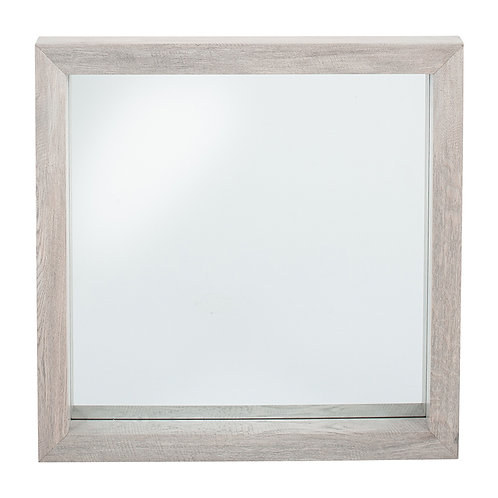 Grey Oak Wood Veneer Square Wall Mirror