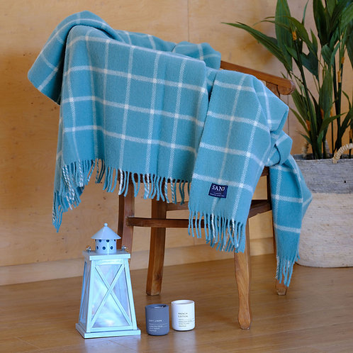 Spearmint Chequered Check Pure New Wool Sand Blanket
