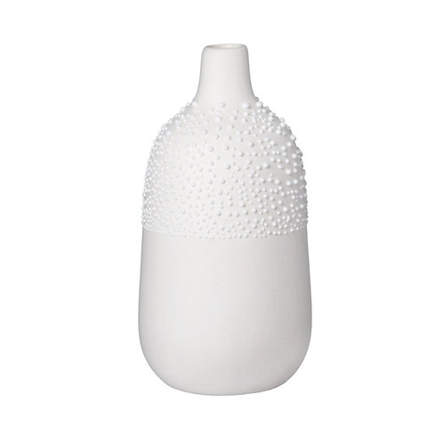 White Decorative Bottle Beaded Vase