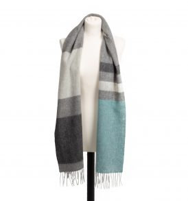 Lambswool Scarf Rolled Fringe Kingfisher