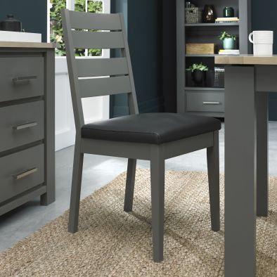 Oakham  Dark Grey Slatted Chair (Pair)