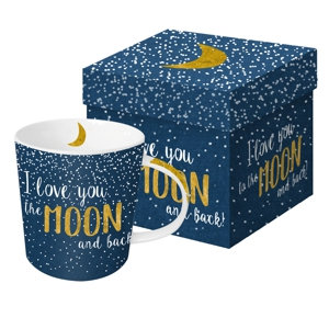 Moon Gift-Box Mug I Love You to the moon and back real gold 350ml New Bone China