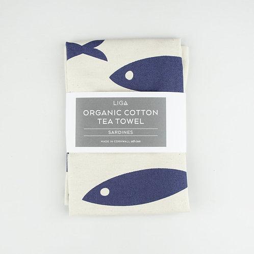 Liga Navy Fish Tea Towel
