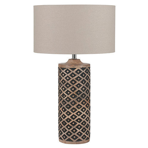 Tall Wooden Diamond Table Lamp