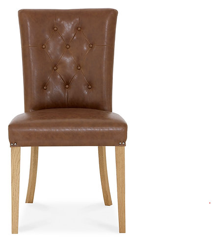 Rustic Oak Upholstered Chair - Tan Faux Leather (Pair)