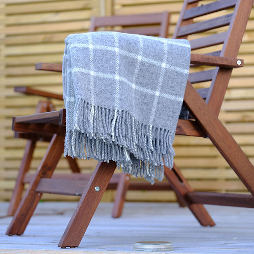 Grey Chequered Check Pure New Wool Sand Blanket