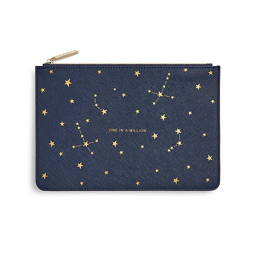 GOLD PRINT PERFECT POUCH | ONE IN A MILLION | NAVY BLUE