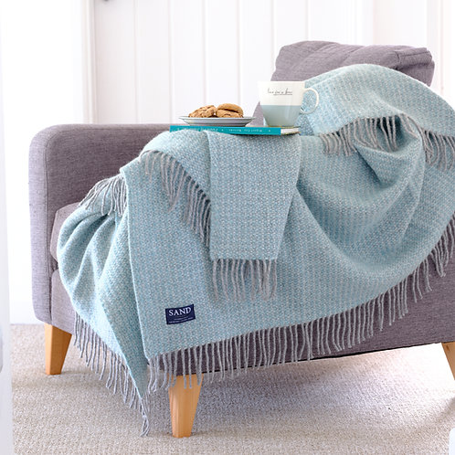 Spearmint & Grey Illusion Pure New Wool Sand Blanket