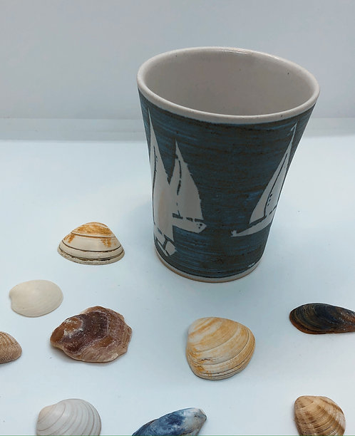 Coastal Hand Crafted Pottery Boat Collection Coffee Mug