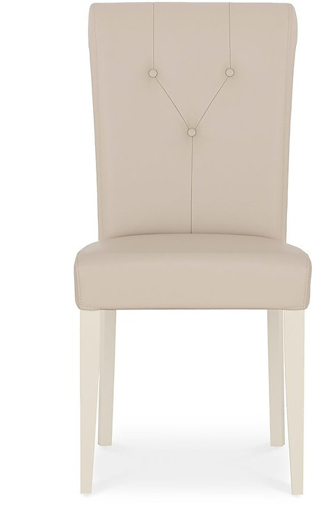 Montreux Antique White Upholstered Chair - Ivory Bonded Leather (Pair)