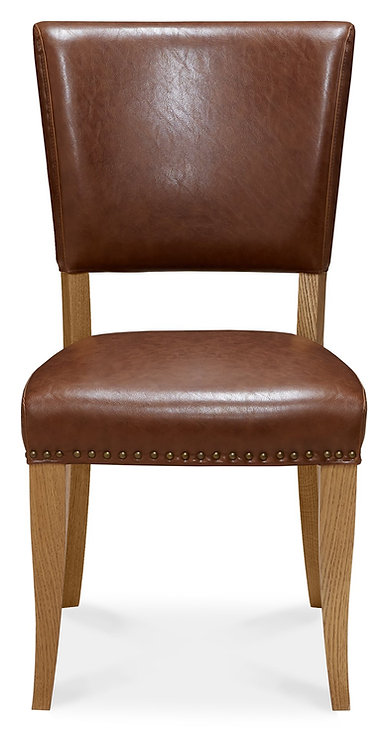 Rustic Oak Upholstered Chair - Rustic Tan Faux Leather (Pair)