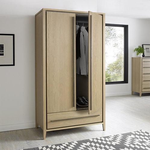 Rimini Aged and Weathered Oak 2 Door Double Wardrobe