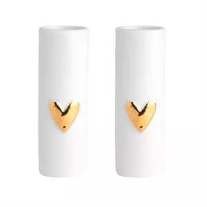 Love Gold Heart Mini Vases set of 2