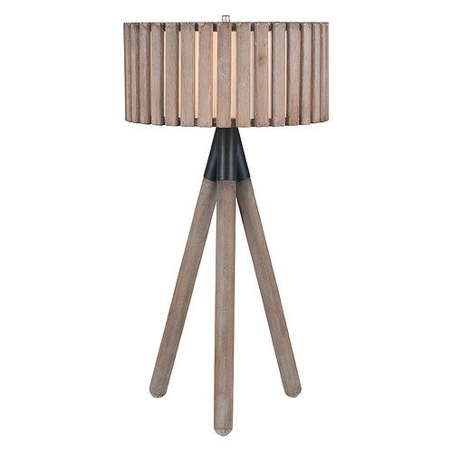 Slatted Antique Wood Tripod Table Lamp