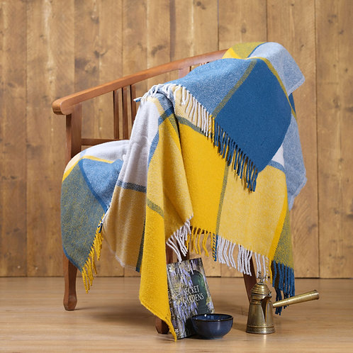 Ink & Yellow Block Check Pure New Wool Sand Blanket