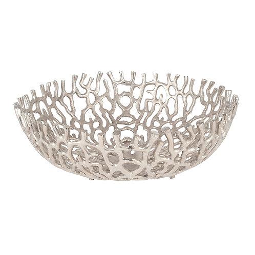 Silver Open Coral Metal Bowl