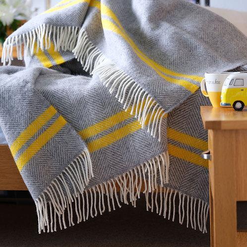 Grey & Yellow Fishbone 2 Stripe Pure New Wool Sand Blanket