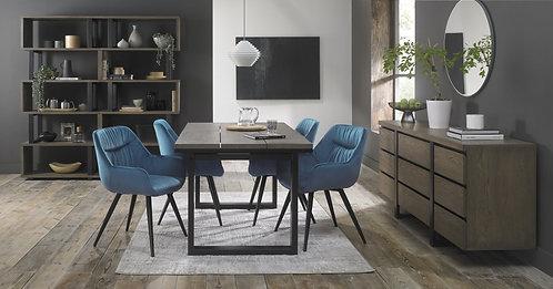 Petrol Blue Velvet Pleated Upholstered Dining Chair