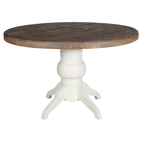 Antique White & Natural Round Dining Table