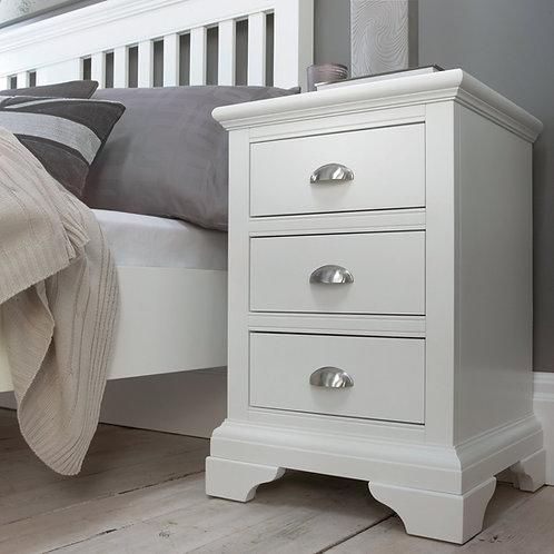 Hampstead White 3 Drawer Bedside Cabinet