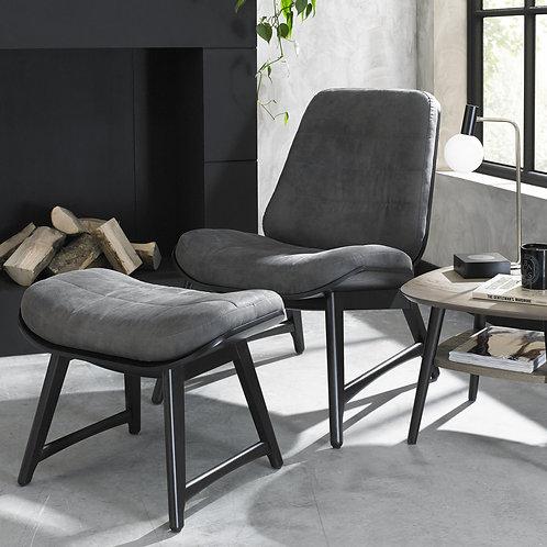 Vintage Peppercorn Dark Grey Fabric Footstool