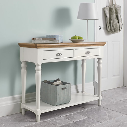 Hampstead Two Tone 2 Drawer Console Table with Turned Legs