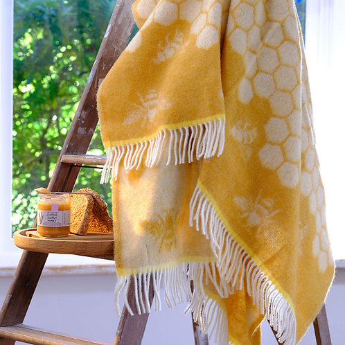 Bee Double Sided Wool Blanket with Reversed Out Design