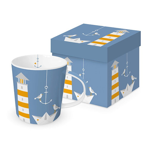 Beach Lighthouse mug in gift box 350ml New Bone China