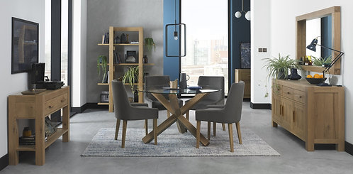Turin Light Oak Glass Top Round Dining Table