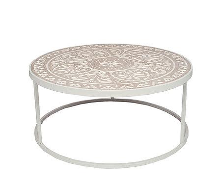 Antique White & Cream Wood & Iron Coffee Table