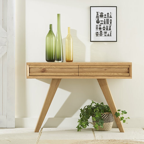 Cadell Rustic Oak Console Table With 2 Drawers