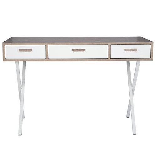 Natural & White Wood Veneer 3 Drawer Desk K/D