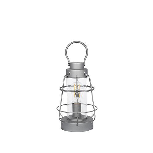 Grey Metal & Clear Glass Oil Lantern Table Lamp