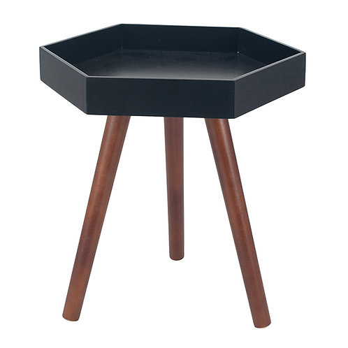 Black MDF & Brown Pine Wood Hexagon Table