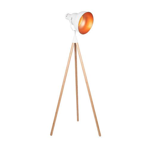 White Metal & Natural Wood Tripod Floor Film Light