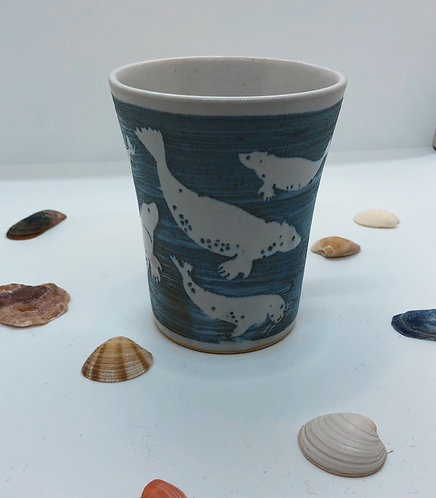 Coastal Hand Crafted Pottery Seal Collection Coffee Mug
