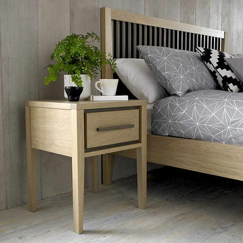 Rimini Aged and Weathered Oak 1 Drawer Bedside Table