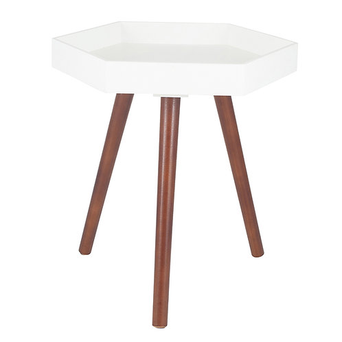 White MDF & Brown Pine Wood Hexagon Table